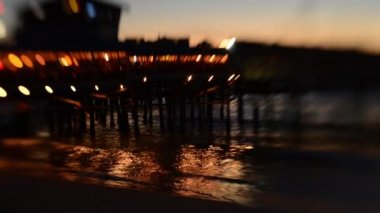 Tilt Shift Twilight Beach Pier — Stock Video