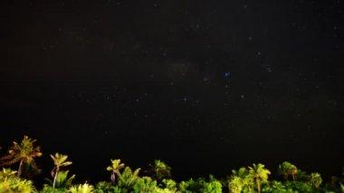 Milky Way Galaxy & Moon Rise — Stock Video