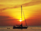 Boat and sunset in Thailand — Stock Photo