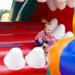 Four-year-old kid playing on a trampoline — Stock Photo