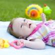Will rub two-month baby outdoor — Stock Photo #41266833