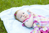 Will rub the two-month baby outdoor — Stock Photo