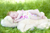 Will rub the sleeping two-month baby — Stock Photo