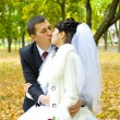 Portrait of kissing newlyweds — Stock Photo