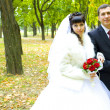 Newly married walk in autumn park — Stock Photo