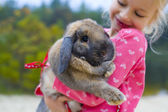 Portrait of beautiful girl with rabbit — Stock Photo