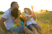 Beautiful young family of three — Foto Stock
