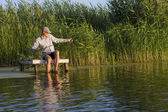 Fisherman in canes — Stockfoto