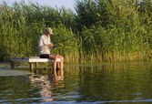 Fisherman in canes — Foto Stock