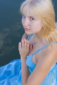 Portrait of the praying girl — Stock Photo