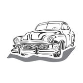 Vector - Retro car on white background — Vector de stock