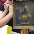 People lighting Incense sticks with lamp in Thailand — Stock Photo #51416067