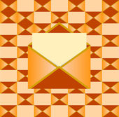 Yellow open envelope with paper — Stockvektor