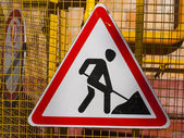 Sign road works — Stock Photo