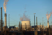Heat power plant towers — Stock Photo