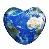Earth America-Africa heart — Stock Photo