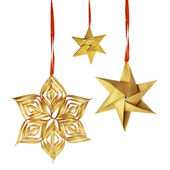 Christmas hanging golden paper decoration — Stock Photo