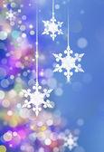 冬天的圣诞树和雪花背景 — 图库照片