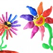 Plasticine flowers friendship — Stock Photo