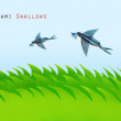 Green field with origami swallows — Stock Photo
