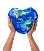 3d earth heart in hands — Stock Photo