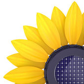 3d sunflower solar cell — Stock Photo