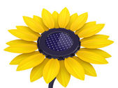 3d solar cell sunflower — Stock Photo