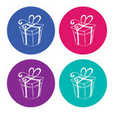 Gift boxes on light background. — Stock Vector