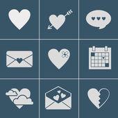 Mail kärlek ikoner — Stockvektor