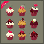 Set of  cute cupcakes. — Stock Vector