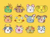 Vector illustration of cute animal set — Stock Vector