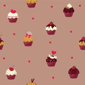 Seamless cartoon cake pattern — Stock Vector