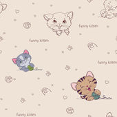 Cartoon seamless pattern with cute  cats — Stock Vector