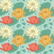 Lotus flowers in seamless pattern — Stock Vector