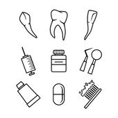 Dental icons set on white background — Stock Vector