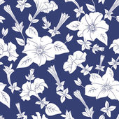 White floral seamless pattern — Stock Vector