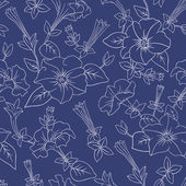 Blue floral seamless pattern — Stock Vector