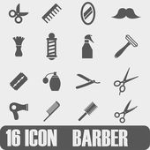 Vektor svart frisör ikonuppsättning — Stockvektor