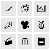 Conjunto de ícones do vetor arte negra — Vetorial Stock