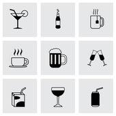 Vector black beverages icons set — Stok Vektör