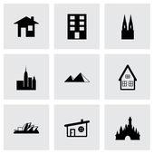 Vector black buildings icons set — Stok Vektör