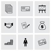 Conjunto de iconos de negocios vector negro — Vector de stock