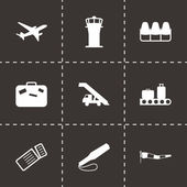 Vector black airport icons set — Stock Vector