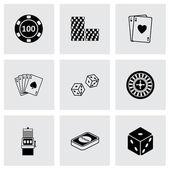 Vector black casino icons set — Stock Vector
