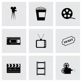 Vector black cinema icons set — Stock Vector