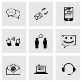 Conjunto de iconos de comunicación vector negro — Vector de stock