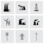 Vector black energeticsl icons set — Stock Vector