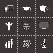 Vector black education icons set — Stock Vector