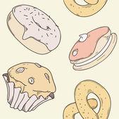 Donut, cake, cupcake pretzel  seamless — Stock Vector