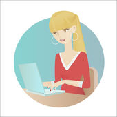 Girl at work — Stock Vector